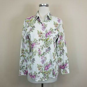 Foxcroft Embroidered Floral Shaped Fit Shirt